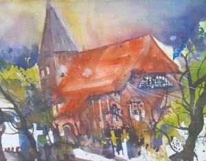 Schifferkirche_Prerow_Andreas Mattern_Aquarell -56x76 cm