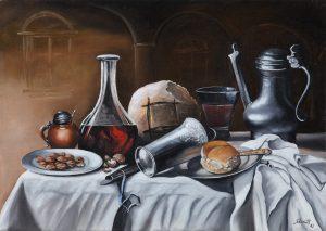 Bruno Strudt - Gedeckter Tisch -Stilleben-, Öl