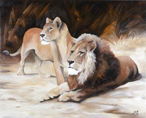 Bruno Studt - Löwenpaar, Öl