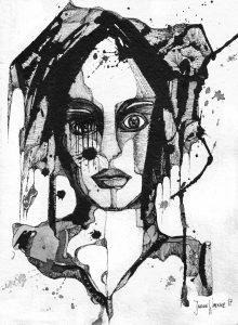 Janine_Werner Selbstportrait mit vergittertem Auge 30 x 42 Tusche & Acryl auf Büttenpapier
