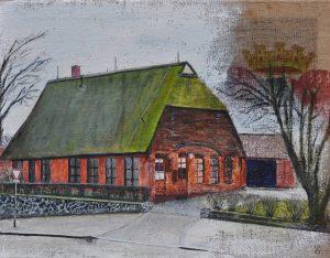 WIR Gisela Schweitzer, Altes Bauernhaus, an der Glinder Au Acryl auf Jute 70 x 80