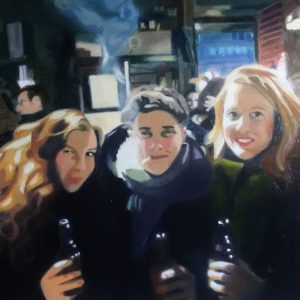Ulla Kutter, hongkong bar, 30x30cm, Oil on cardboard,700€, 2018